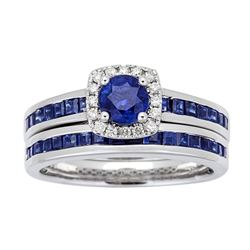 1.70 ctw Sapphire and Diamond Ring - 14KT White Gold