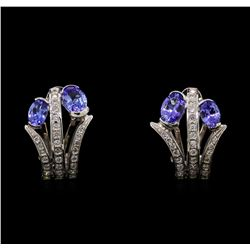 14KT White Gold 2.54 ctw Tanzanite and Diamond Earrings