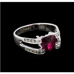 2.00 ctw Rubellite and Diamond Ring - 18KT White Gold