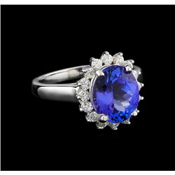 3.28 ctw Tanzanite and Diamond Ring - 14KT White Gold