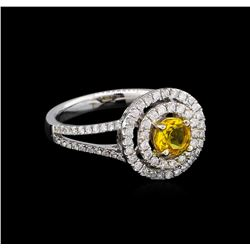 14KT White Gold 0.44 ctw Citrine and Diamond Ring