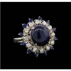 11.35 ctw Blue Star Sapphire and Diamond Ring - 14KT White Gold