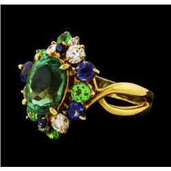 2.27 ctw Tourmaline and Sapphire Ring - 18KT Yellow Gold