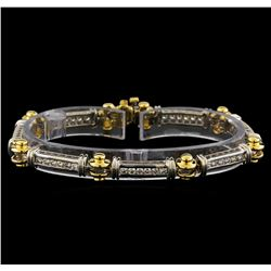 1.60 ctw Diamond Bracelet - 14KT White and Yellow Gold