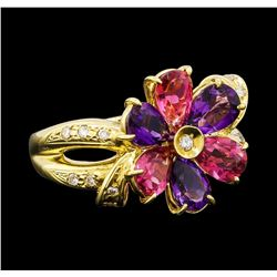 1.90 ctw Amethyst, Tourmaline and Diamond Ring - 18KT Yellow Gold
