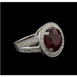 8.12 ctw Ruby and Diamond Ring - 14KT White Gold