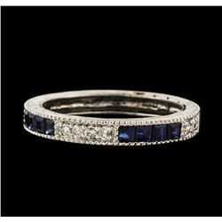 0.40 ctw Sapphire and Diamond Ring - 14KT White Gold