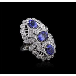 14KT White Gold 3.96 ctw Tanzanite and Diamond Ring
