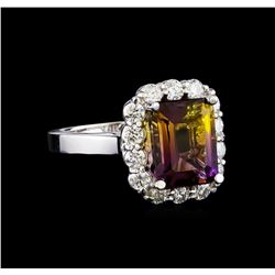 3.50 ctw Ametrine and Diamond Ring - 14KT White Gold