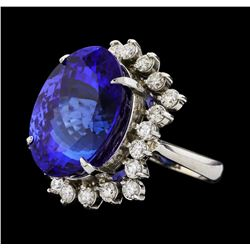 GIA Cert 22.45 ctw Tanzanite and Diamond Ring - 14KT White Gold