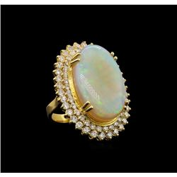 14KT Yellow Gold 14.73 ctw Opal and Diamond Ring