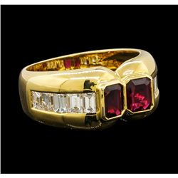 1.21 ctw Ruby and Diamond Ring - 18KT Yellow Gold