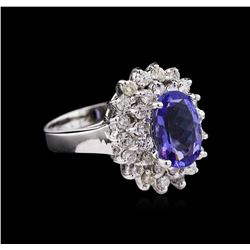 2.04 ctw Tanzanite and Diamond Ring - 14KT White Gold