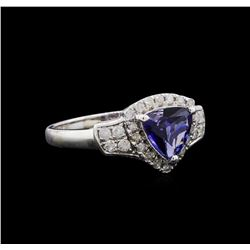 1.20 ctw Tanzanite and Diamond Ring - 14KT White Gold