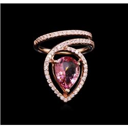 2.36 ctw Pink Tourmaline and Diamond Ring - 14KT Rose Gold