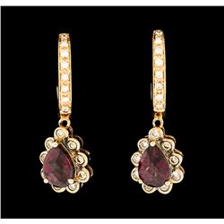 2.00 ctw Garnet and Diamond Dangle Earrings - 14KT Rose Gold