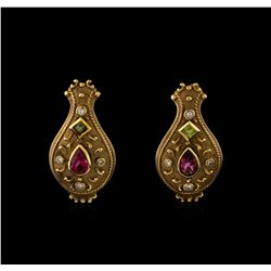 3.65 ctw Tourmaline and Diamond Suite - 14KT Yellow Gold