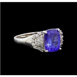 2.51 ctw Tanzanite and Diamond Ring - 14KT White Gold