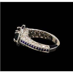 2.92 ctw Sapphire and Diamond Ring - 14KT White Gold