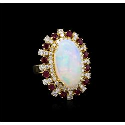 8.19 ctw Opal, Ruby and Diamond Ring - 14KT Yellow Gold