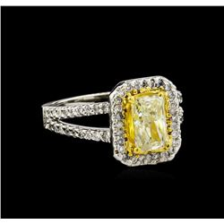 1.90 ctw Fancy Light Yellow Diamond Ring - 14KT Two-Tone Gold