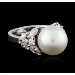 18KT White Gold Pearl and Diamond Ring