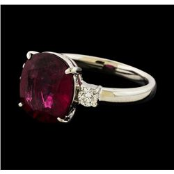 3.56 ctw Pink Tourmaline and Diamond Ring - Platinum