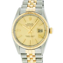 Rolex Two-Tone Gold Champagne Index and Fluted Bezel DateJust Men's Watch