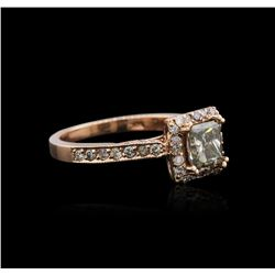 14KT Rose Gold 1.30 ctw Fancy Green Diamond Ring