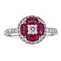 1.19 ctw Ruby and Diamond Ring - 18KT White Gold