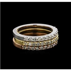 14KT Three-Tone Gold 0.70 ctw Diamond Rings