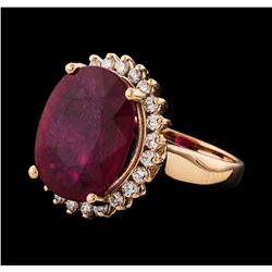 11.51 ctw Ruby and Diamond Ring - 14KT Rose Gold