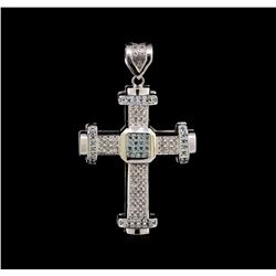 10KT White Gold 1.94 ctw Diamond Cross Pendant