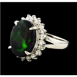 4.08 ctw Black Opal and Diamond Ring - Platinum