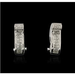 18KT White Gold 1.21 ctw Diamond Earrings