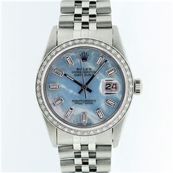 Rolex Stainless Steel Blue MOP Diamond DateJust Men's Watch