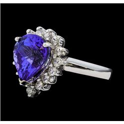 5.44 ctw Tanzanite and Diamond Ring - 14KT White Gold