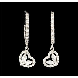 1.36 ctw Diamond Dangle Earrings - 14KT White Gold