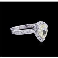 1.45 ctw Fancy Light Yellow Diamond Ring - 14KT White Gold