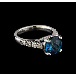 3.00 ctw Blue Topaz and Diamond Ring - 14KT White Gold
