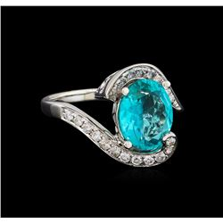 3.09 ctw Apatite and Diamond Ring - 14KT White Gold