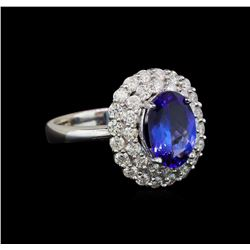 14KT White Gold 2.28 ctw Tanzanite and Diamond Ring