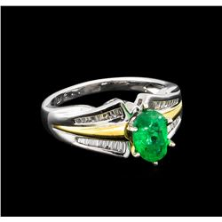 1.32 ctw Emerald and Diamond Ring - 18KT Two-Tone Gold