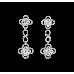 3.26 ctw Diamond Earrings - 18KT White Gold