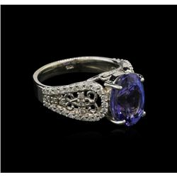 4.38 ctw Tanzanite and Diamond Ring - 14KT White Gold