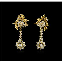 5.95 ctw Diamond Earrings Dangle - 18KT Yellow Gold