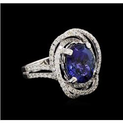 4.60 ctw Tanzanite and Diamond Ring - 18KT White Gold