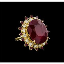 36.08 ctw Ruby and Diamond Ring - 14KT Yellow Gold