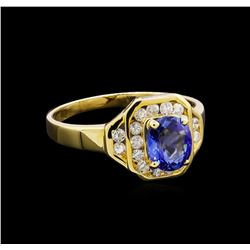 1.00 ctw Tanzanite and Diamond Ring - 14KT Yellow Gold