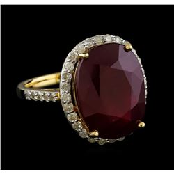 14.11 ctw Ruby and Diamond Ring - 14KT Yellow Gold
